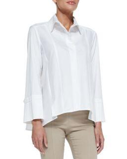 Womens Long Sleeve Button Up Cotton Shirt, White   Donna Karan   White (6)