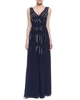 Womens Sleeveless Beaded Strip Gown, Eclipse   Erin by Erin Fetherston