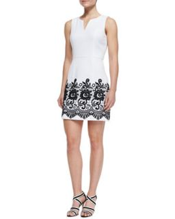 Womens Sleeveless V Neck Pique & Lace Dress   Ali Ro   White/Black (10)