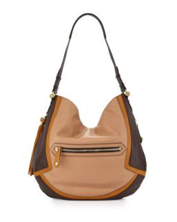Angelique Colorblock Leather Hobo, Nude/Multi   Oryany