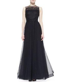 Womens Sleeveless Illusion Neck Gown, Black   Rickie Freeman for Teri Jon