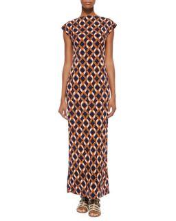 Link Print Bateau Neck Long Dress, Womens   Melissa Masse   Navy tangerine ch