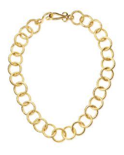 Classic 24k Gold Plate Circle Link Necklace, 18L   Stephanie Kantis   Gold