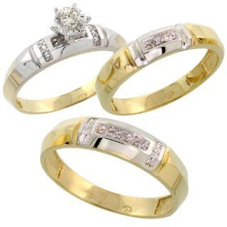 Gold Plated Sterling Silver Diamond Trio Wedding Ring Set His 5.5mm & Hers 4mm, Mens Size 8 to 14 Jewelry