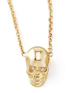 Yellow Gold Skull Pendant Necklace   Zoe Chicco   Gold