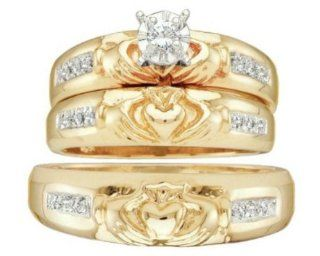 0.1 cttw 14k Yellow Gold Diamond Trio Claddagh Bridal Set Love Loyalty Friendship His and Hers 3 Piece Wedding Rings (Real Diamonds: 0.1 cttw, Ring Sizes 4 13): Jewelry
