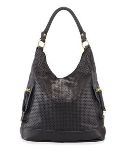 Dylan Perforated Leather Hobo Bag, Black   Linea Pelle