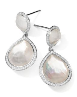 Stella 2 Stone Drop Earrings in Mother of Pearl Doublet with Diamonds