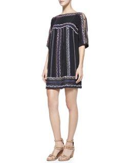 Womens Run Wild Silk Boat Neck Shift Dress   Nanette Lepore   Black (10)