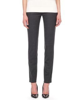 Womens Samantha Skinny Tropical Wool Pants, Charcoal   Charcoal (4)
