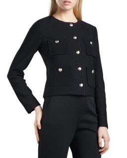 Womens Marocain Pocketed Boucle Jacket, Caviar   St. John Collection   Caviar