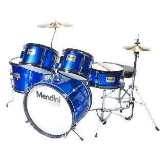 Mendini MJDS 5 BL Complete 16 Inch 5 Piece Blue Junior Drum Set with Cymbals, Drumsticks and Adjustable Throne Musical Instruments