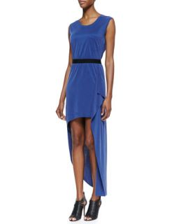 Womens Evelyn Draped High Low Dress   BCBGMAXAZRIA   Blue depths (X SMALL)