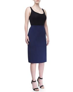 Double Face Straight Skirt, Indigo, Womens   Carolina Herrera   Indigo (16)