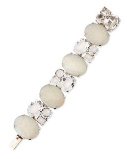 White Opal Mosaic Bracelet with Rock Crystals   Stephen Dweck   White