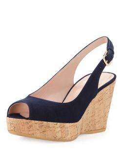 Jean Suede Cork Wedge, Nice Blue (Made to Order)   Stuart Weitzman   Nice blue