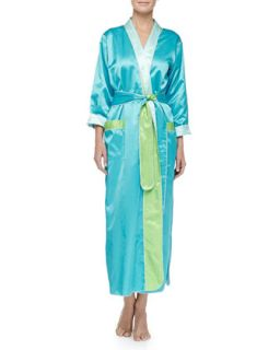 Womens Monte Carlo Satin Long Robe, Peacock/Lime   Louis at Home
