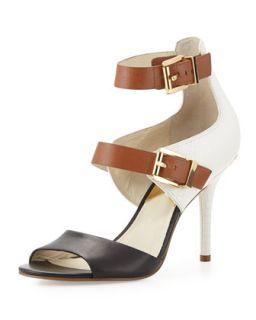 Adriana Ankle Strap Sandal   MICHAEL Michael Kors   Black/White (37.5B/7.5B)