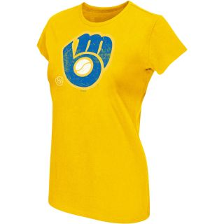 G III Womens Milwaukee Brewers Cooperstown Logo Short Sleeve T Shirt   Size: L,