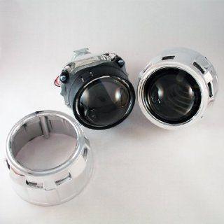 "v5 Mini h1 Bi xenon HID Projectors Retrofit w/ 2.5"" Clear Lenses + Chrome Gatling Shrouds Headlight Retrofit Automotive"