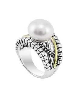 Silver & Gold Luna Pearl Ring, 12mm   Lagos   Silver (12mm )