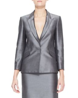 Womens Suiting Blazer with Sheen, Black/White   Alexander Wang   Black/White