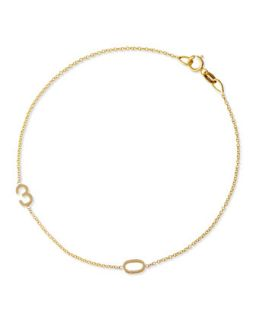 Mini 2 Number Bracelet, Yellow Gold   Maya Brenner Designs   Gold (One Size)