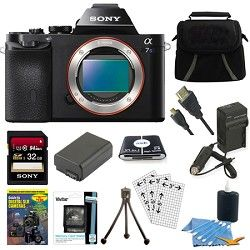 Sony ILCE 7S/B a7S Full Frame Mirrorless Camera 32GB SDHC Card & Battery Bundle