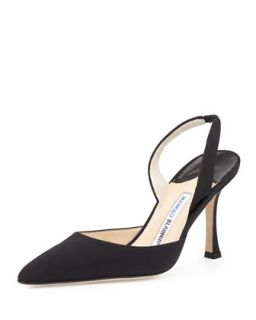 Carolyne Suede High Heel Halter Pump, Black   Manolo Blahnik   Black (7B)