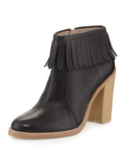 Monet Tumbled Leather Fringe Bootie, Black   10 Crosby Derek Lam   Black (38.
