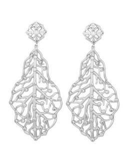 Pave CZ Branch Hourglass Earrings, Rhodium Plate   Kendra Scott Luxe   Rhodium