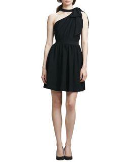 Womens One Shoulder Dress with Bow, Black   Shoshanna   Black (2)