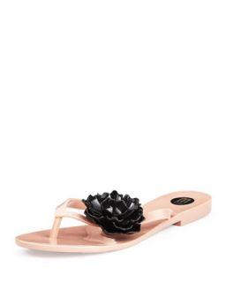 Harmonic Floral Thong Sandal, Nude/Black   Melissa Shoes   Beige/Black (7.0B)