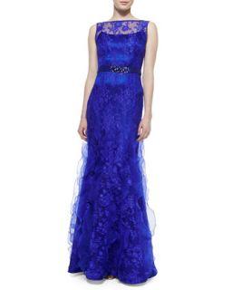 Womens Sleeveless Lace Overlay Mermaid Gown   Rickie Freeman for Teri Jon
