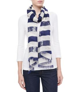 port sequined stripe scarf, navy   kate spade new york   Navy (ONE SIZE)