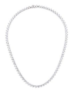 Three Prong CZ Vermeil Tennis Necklace   Fantasia by DeSerio   Clear