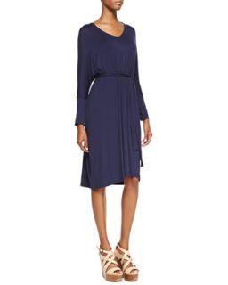 Womens Long Sleeve Jersey Dress, Navy   Melissa Masse   Navy (MEDIUM (8/10))