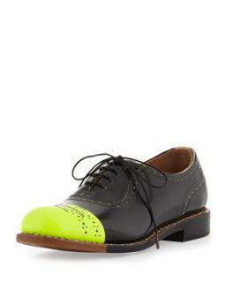 Mr. Dorchester Neon Cap Toe Oxford, Black/Yellow   The Office of Angela Scott