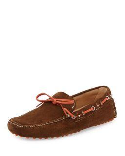 Mens Tie Front Suede Driving Shoe, Brown/Orange   Car Shoe   Orange (7 1/2)