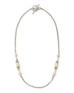 Gold Bullet Station Necklace, 18L   Konstantino   Tan
