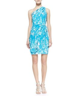 Womens Julia One Shoulder Print Dress, Turquoise/White/Navy   Shoshanna