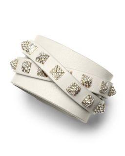 Rockstud Multi Strand Crystal Stud Leather Bracelet, Ivory   Valentino   Ivory