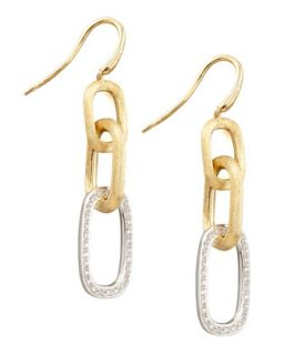 Murano 18k Brushed Gold & Diamond Link Drop Earrings   Marco Bicego   Gold (18k