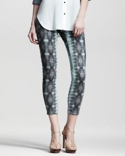 Womens Lizard Print Skinny Pants   10 Crosby Derek Lam   Mint (6)