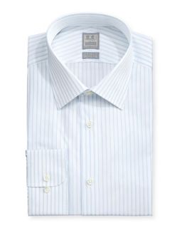 Mens Pinstripe Twill Dress Shirt, Lt. Blue   Ike Behar   Blue (16L)