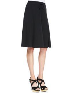 Silk Georgette Gored Knee Skirt, Womens   Eileen Fisher   Black (3X (22/24))