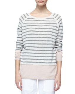 Womens Colorblock Cashmere Sweater with Raglan Sleeves   Vince   New buff