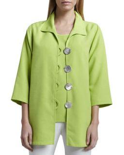 Shantung Big Button Shirt, Womens   Caroline Rose   Lime (2X (20/22))