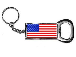 Graphics and More Ring Bottlecap Opener Key Chain, American Flag   USA (KK0004)  Automotive Key Chains