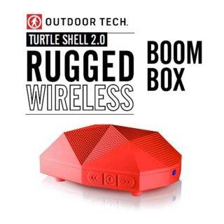 Outdoor Tech OT 1800 Turtle Shell 2.0 Rugged Water Resistant Wireless Bluetooth Hi Fi Speaker (Red)  Boomboxes   Players & Accessories